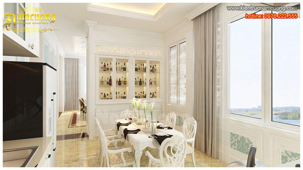 Mẫu phòng bếp tân cổ điển màu trắng sang trọng tại Sài Gòn - NTPBTR 001