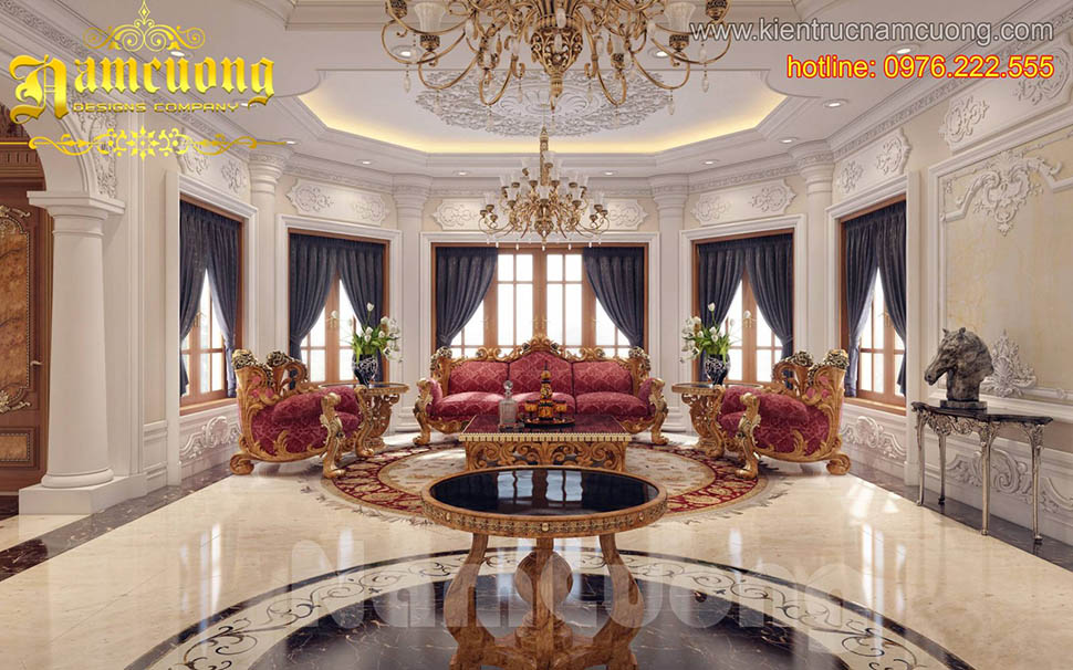 Mẫu thiết kế nội thất phòng khách kiểu Pháp ấn tượng tại Sài Gòn - NTKTCD 044