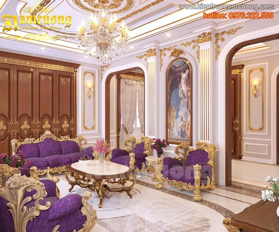 Mẫu thiết kế nội thất phòng khách tân cổ điển đẹp tại Sài Gòn - NTKTCD 023