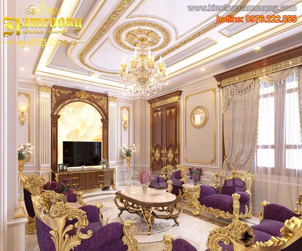 Thiết kế nội thất phòng khách tân cổ điển ấn tượng tại Sài Gòn - NTKTCD 033