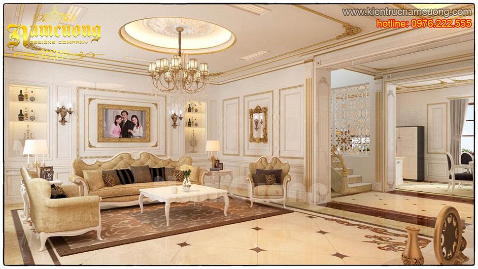 Thiết kế nội thất phòng khách tân cổ điển tại Quảng Ninh - NTKTCD 018