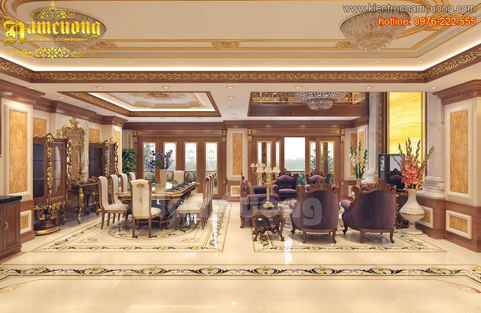 Thiết kế nội thất phòng khách tân cổ điển tại Sài Gòn - NTKCD 019