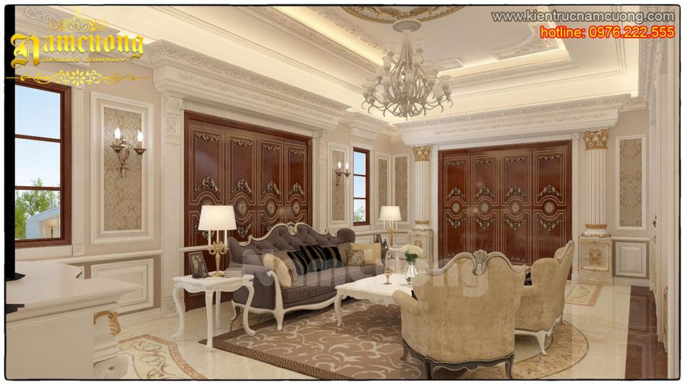 Thiết kế nội thất phòng khách tân cổ điển tại Quảng Ninh - NTKTCD 024