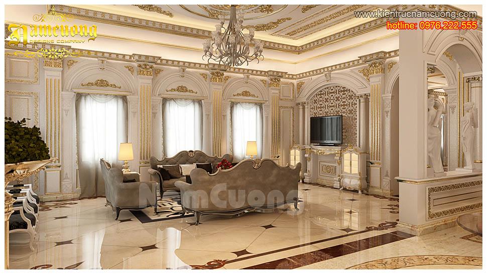 Thiết kế nội thất phòng khách tân cổ điển đẹp tại Hải Phòng - NTKTCD 019