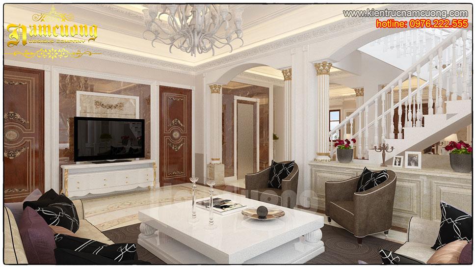 Thiết kế nội thất phòng khách tân cổ điển ấn tượng tại Quảng Ninh - NTKTCD 021