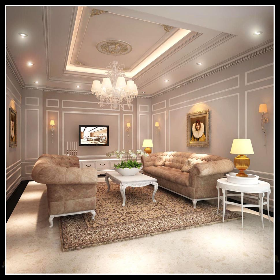 Thiết kế nội thất phòng khách tân cổ điển đẹp tại Quảng Ninh - NTKTCD 014