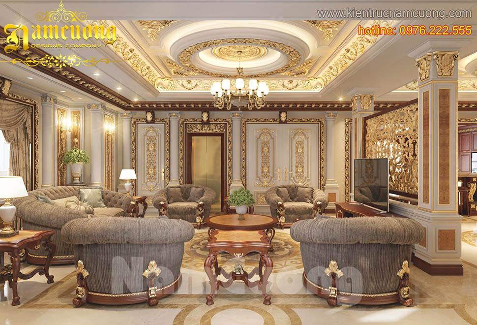 Thiết kế nội thất phòng khách tân cổ điển tại Quảng Ninh - NTKTCD 021