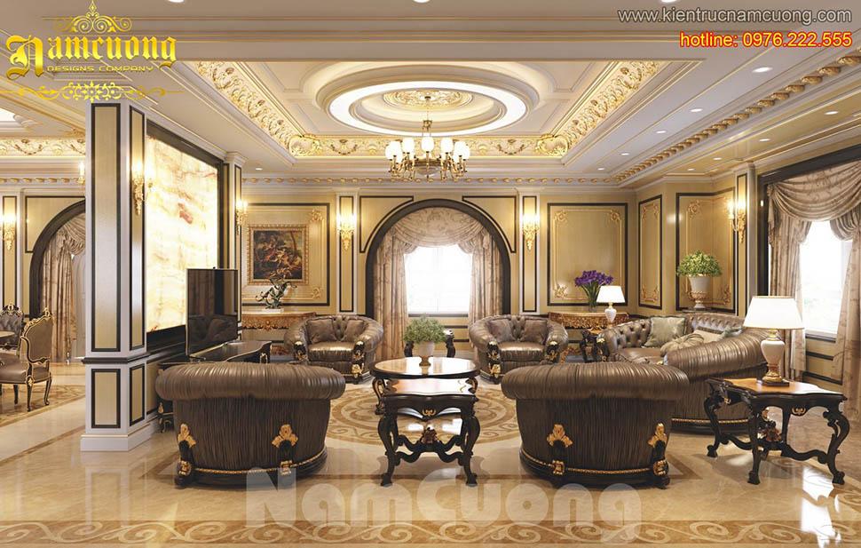 Thiết kế nội thất phòng khách tân cổ điển ấn tượng tại Quảng Ninh - NTKTCD 027