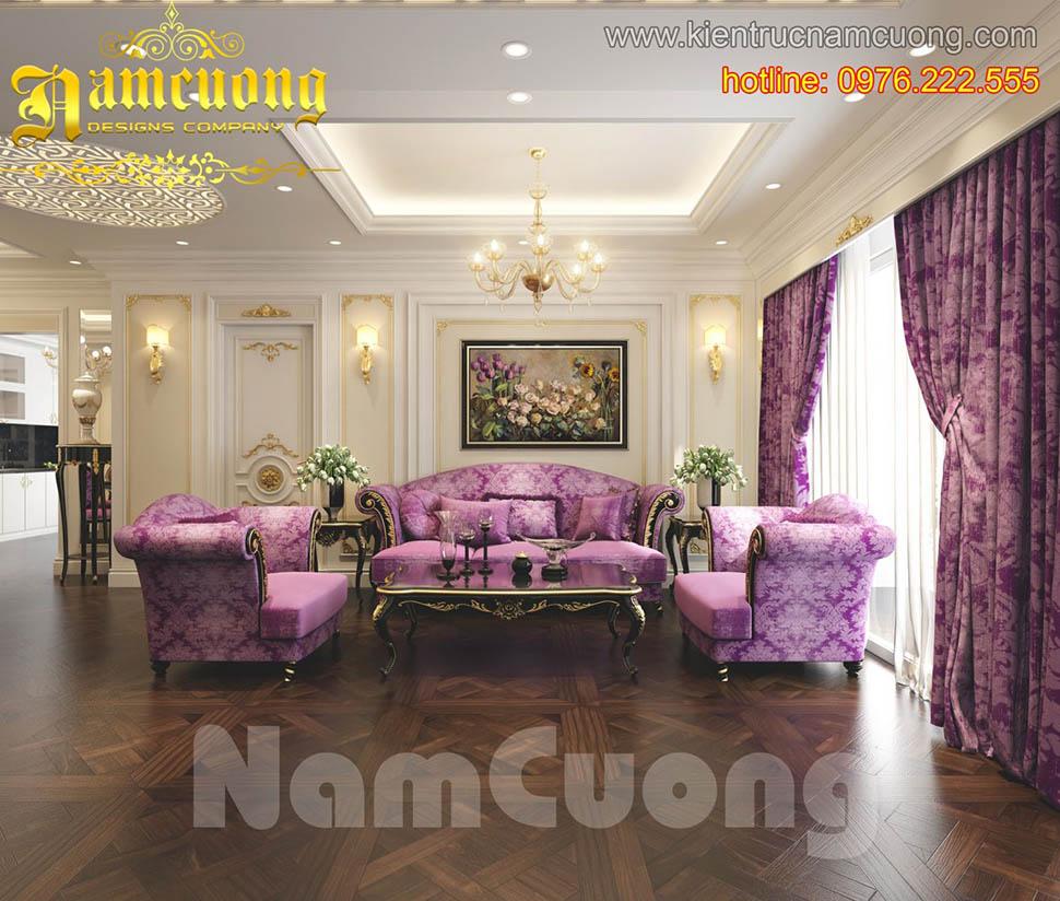 Thiết kế nội thất phòng khách tân cổ điển đẹp tại Sài Gòn - NTKTCD 015