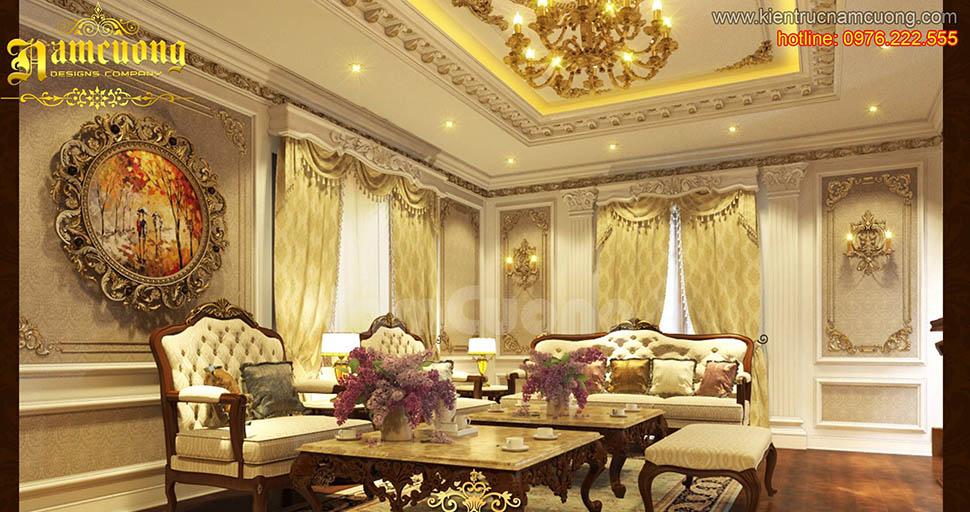 Thiết kế nội thất phòng khách tân cổ điển đẹp tại Sài Gòn - NTKTCD 029