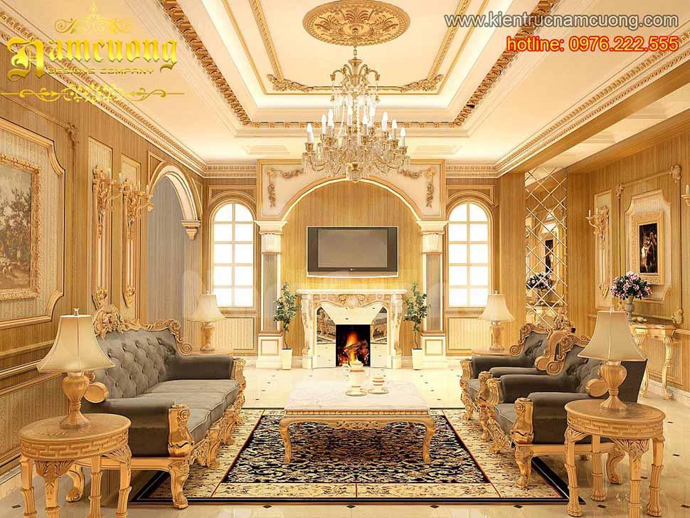Thiết kế phòng khách tân cổ điển ấn tượng tại Quảng Ninh - NTKTCD 030