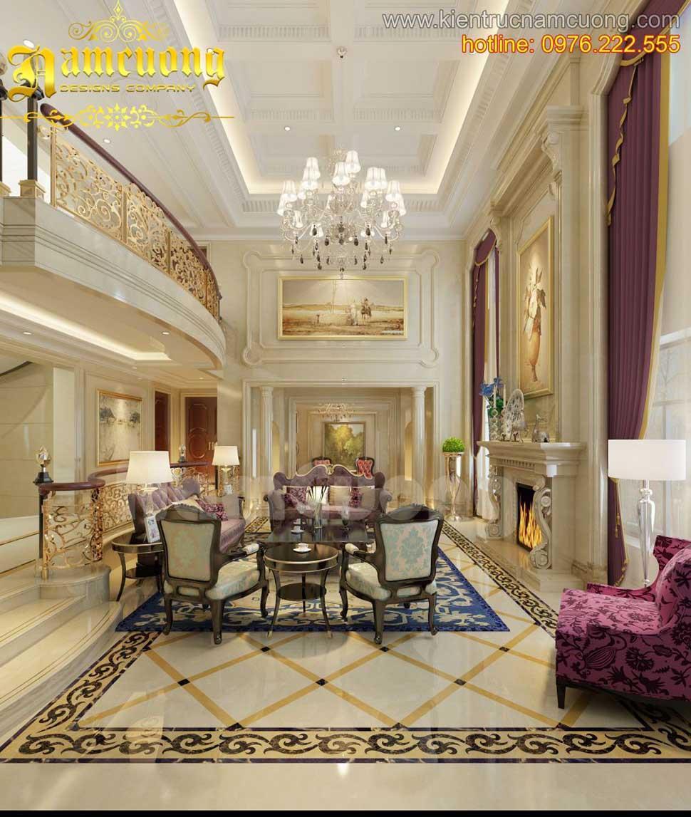 Mẫu thiết kế nội thất phòng khách tân cổ điển ấn tượng tại Sài Gòn - NTKTCD 035