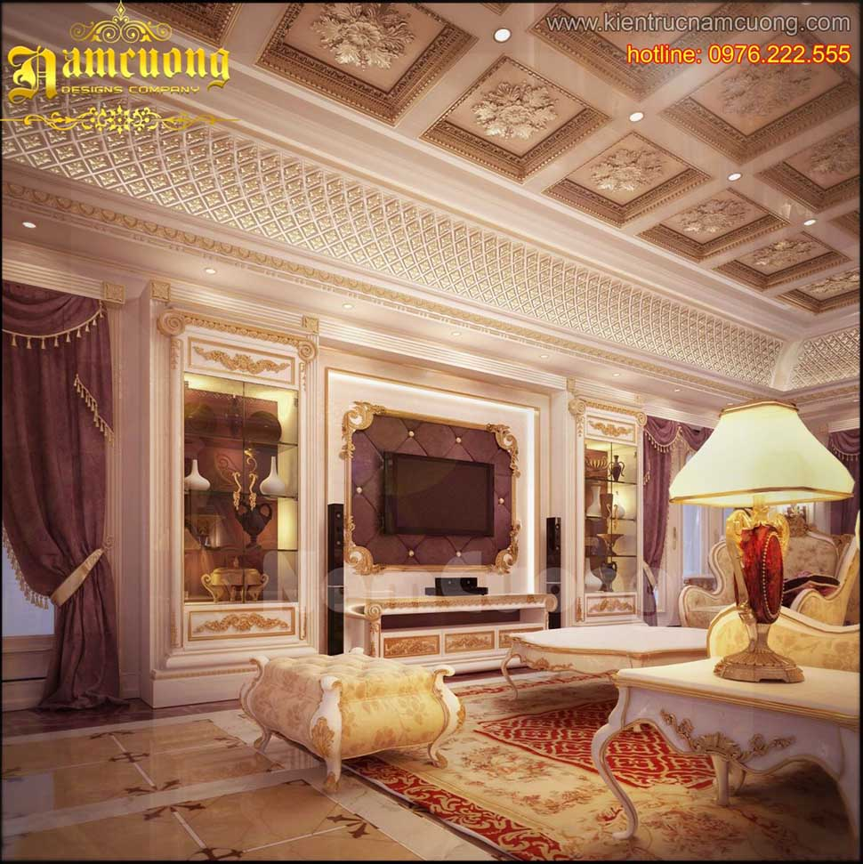 Thiết kế nội thất phòng khách tân cổ điển ấn tượng tại Sài Gòn - NTKTCD 031