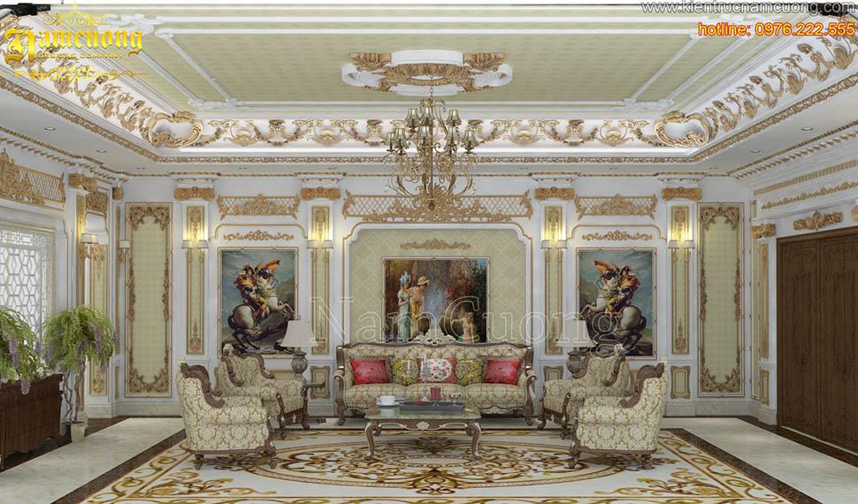 Thiết kế nội thất phòng khách tân cổ điển ấn tượng tại Sài Gòn - NTKTCD 047