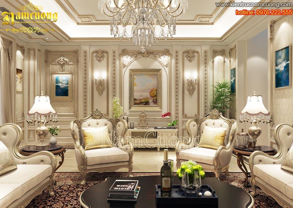 Mẫu phòng khách tân cổ điển đẹp tại Quảng Ninh - NTKTCD 039