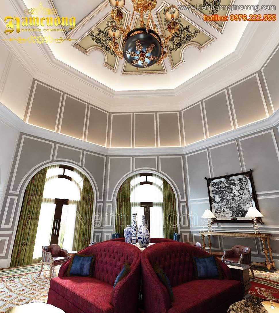 Thiết kế nội thất phòng khách tân cổ điển tại Sài Gòn - NTKTCD 038