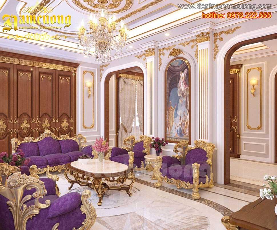 Mẫu thiết kế biệt thự màu tím ấn tượng phong cách cổ điển tại Sài Gòn - NTBTT 001