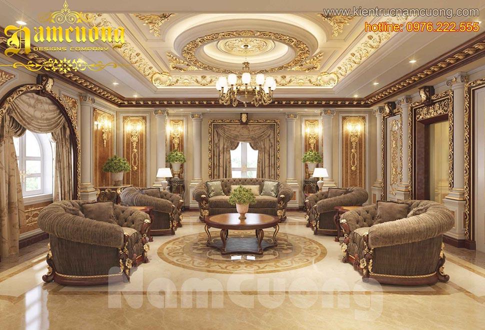 Mẫu thiết kế nội thất phòng khách tân cổ điển đẹp tại Quảng Ninh - NTKTCD 043