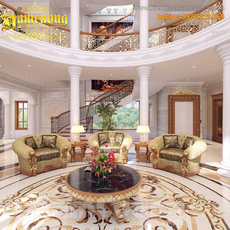 Thiết kế nội thất phòng khách tân cổ điển sang trọng, ấn tượng tại Sài Gòn - NTKTCD 044
