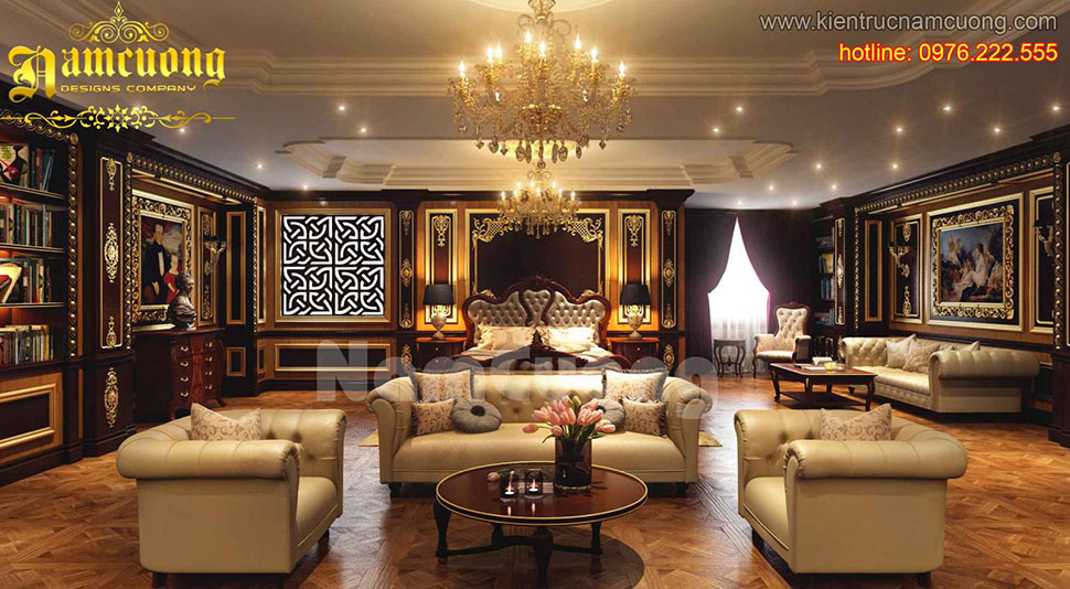 Mẫu thiết kế nội thất phòng khách tân cổ điển ấn tượng tại Sài Gòn - NTKTCD 045