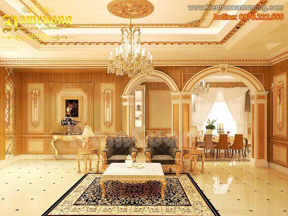 Thiết kế nội thất phòng khách tân cổ điển ấn tượng tại Sài Gòn - NTKTCD 046