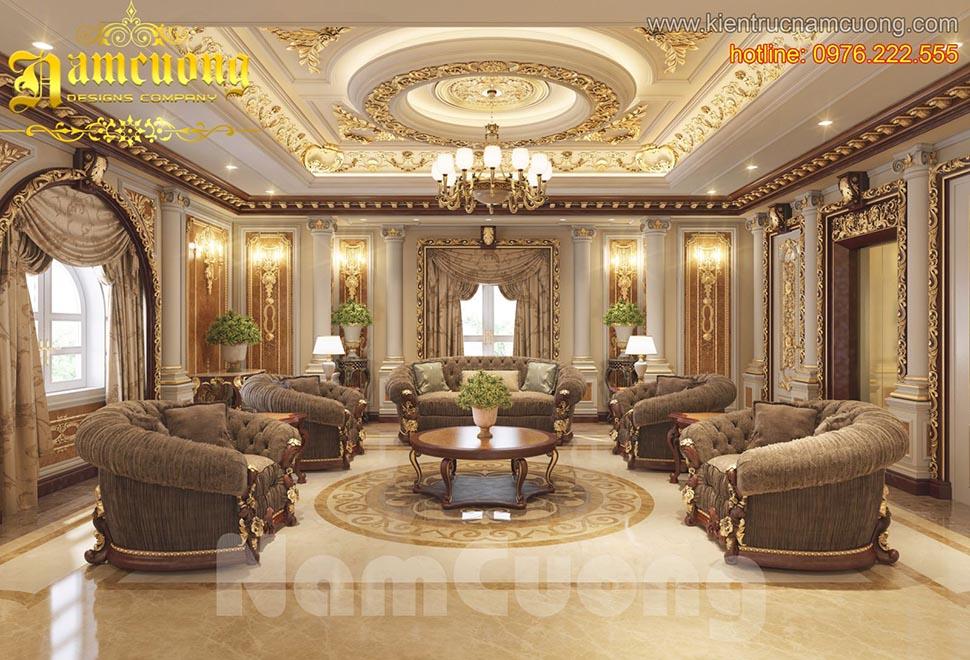 Thiết kế nội thất phòng khách tân cổ điển ấn tượng tại Sài Gòn - NTKTCD 049