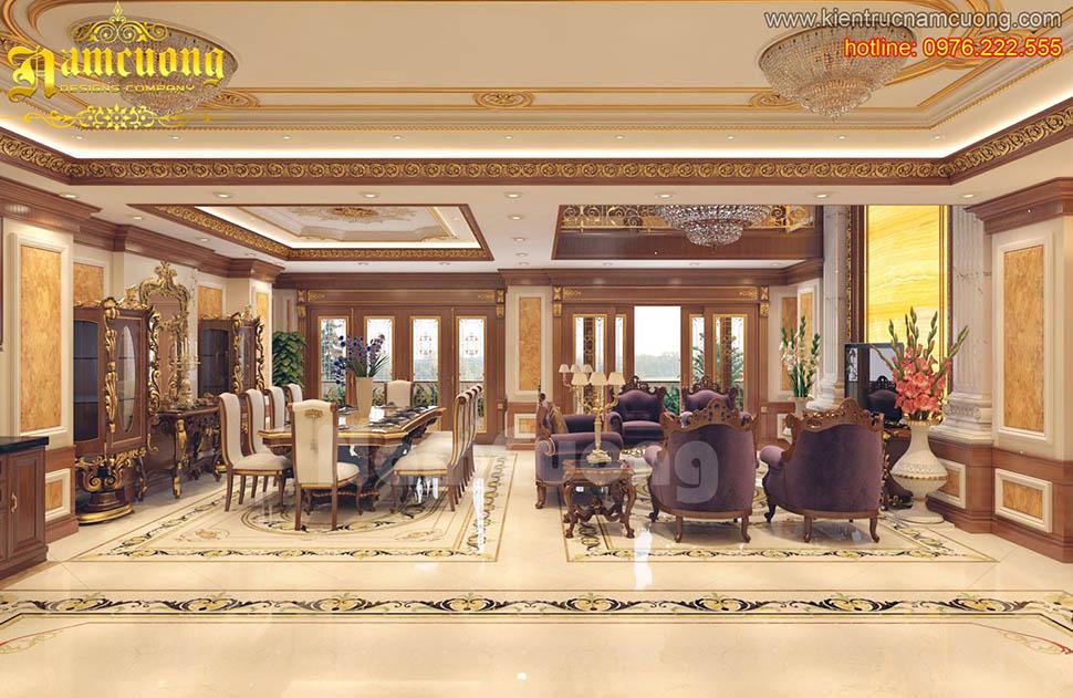 Thiết kế nội thất phòng khách tân cổ điển ấn tượng tại Sài Gòn - NTKTCD 050