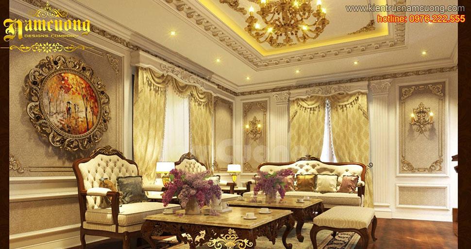 Thiết kế phòng khách tân cổ điển đẹp, ấn tượng tại Quảng Ninh - NTKTCD 051