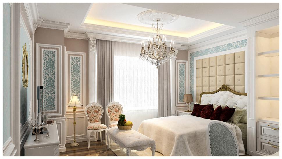 Thiết kế nội thất phòng ngủ tân cổ điển ấn tượng tại Quảng Ninh - NTNTCD 029
