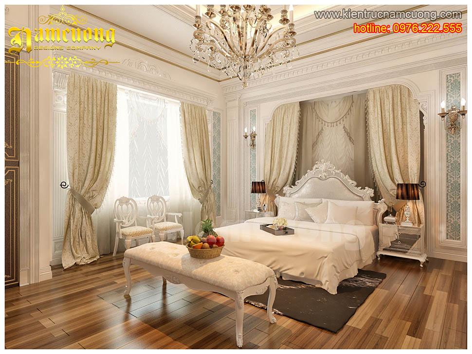 Thiết kế nội thất phòng ngủ tân cổ điển biệt thự Pháp ở Sài Gòn - NTNTCD 010