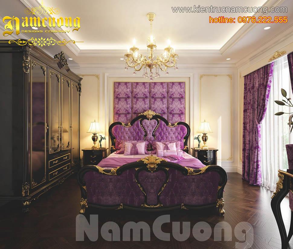 Lãng mạn với mẫu phòng ngủ cổ điển màu tím tại Sài Gòn - NTPNT 001