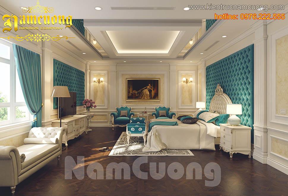 Mẫu thiết kế phòng ngủ tân cổ điển màu xanh ấn tượng tại Hà Nội - PNCDX 002
