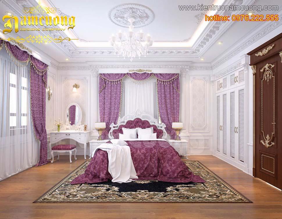 Mẫu phòng ngủ tân cổ điển tinh tế với gam màu trắng-tím tại Hà Nội - PNCDT 002