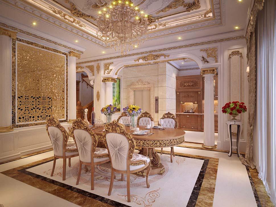 Mẫu thiết kế nội thất phòng bếp tân cổ điển đẹp tại Sài Gòn - NTBTCD 039