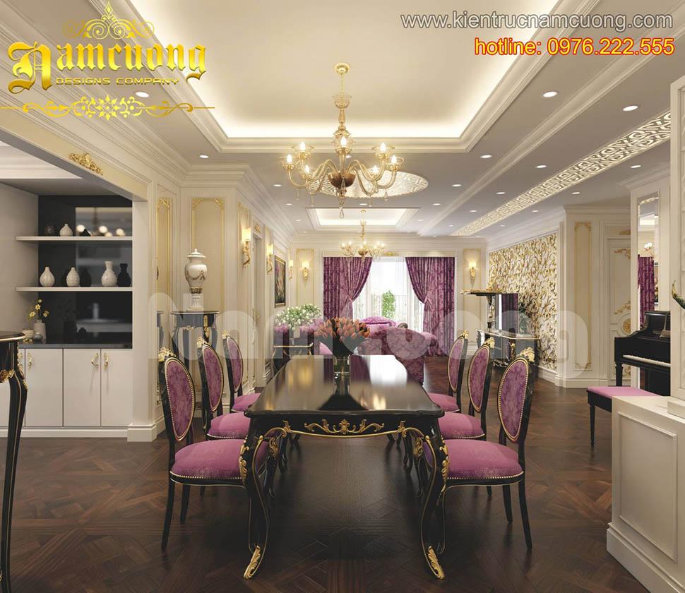 Thiết kế nội thất phòng ăn tân cổ điển đẹp tại Quảng Ninh - NTBTCD 025