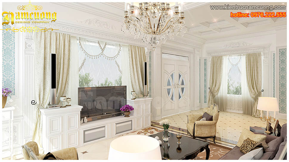 Thiết kế nội thất phòng khách tân cổ điển ấn tượng tại Hải Phòng - NTKTCD 025