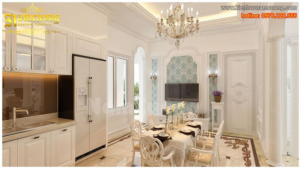 Màu trắng sang trọng cho mẫu thiết kế bếp tân cổ điển tại Hà Nội - BTCDT 002