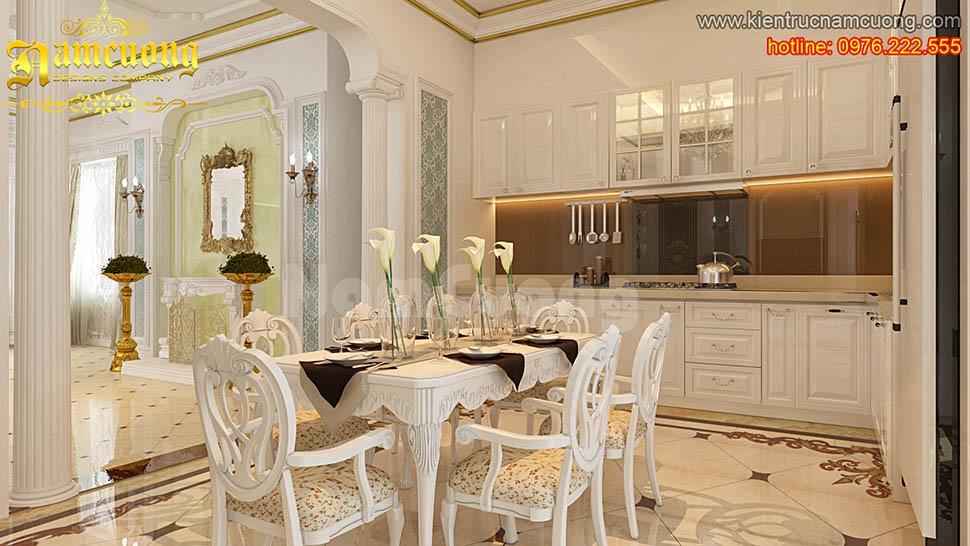 Thiết kế nội thất phòng bếp tân cổ điển đẹp tại Quảng Ninh - NTBTCD 024