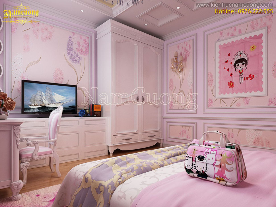Phòng ngủ Hello Kitty cho thiết kế biệt thự tân cổ điển tại Sài Gòn-NTPN 002