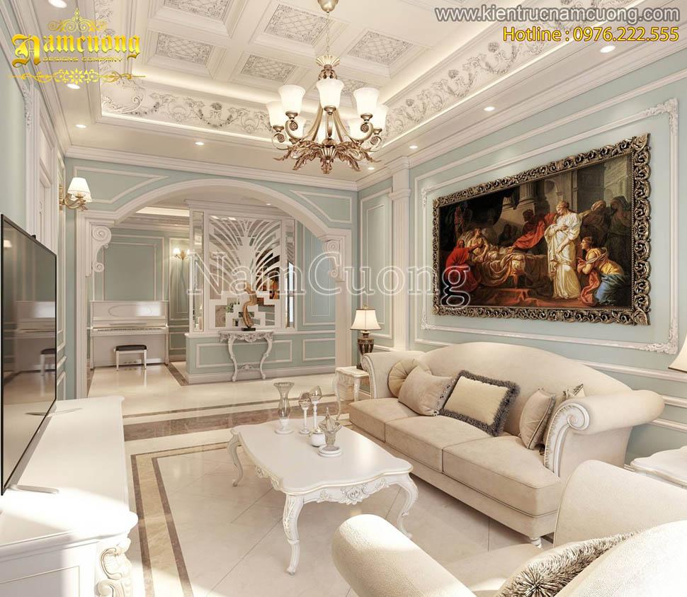 Mẫu thiết kế nội thất chung cư tân cổ điển màu xanh pastel nhẹ nhàng tại Hà Nội - NTCDMX 001