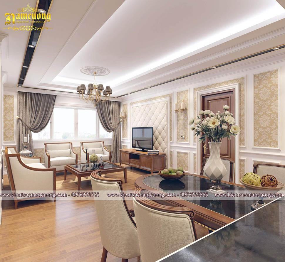 Mẫu thiết kế phòng khách bếp tân cổ điển cho căn hộ chung cư - NTCCCD 014
