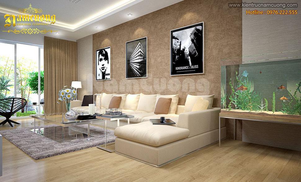Thiết kế nội thất phòng khách hiện đại tại Hải Phòng đẹp ấn tượng - NTKHD 001