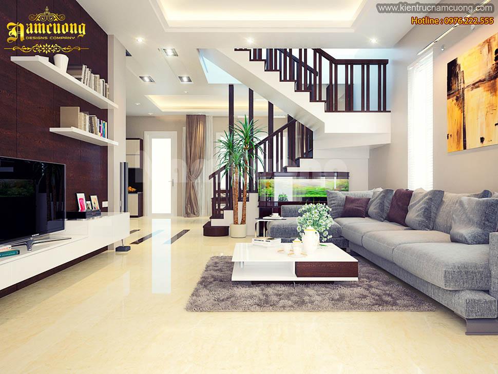 Mẫu thiết kế phòng khách hiện đại đẹp tại Quảng Ninh - NTKHD 002