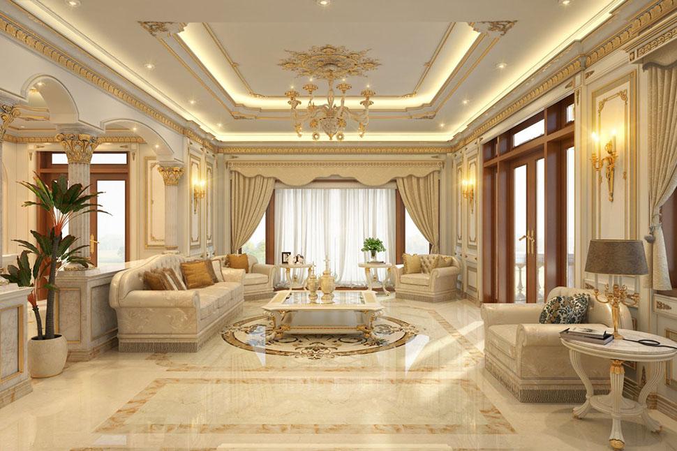 Mẫu nội thất phòng khách cổ điển Pháp tại Sài Gòn - NTPKP 035