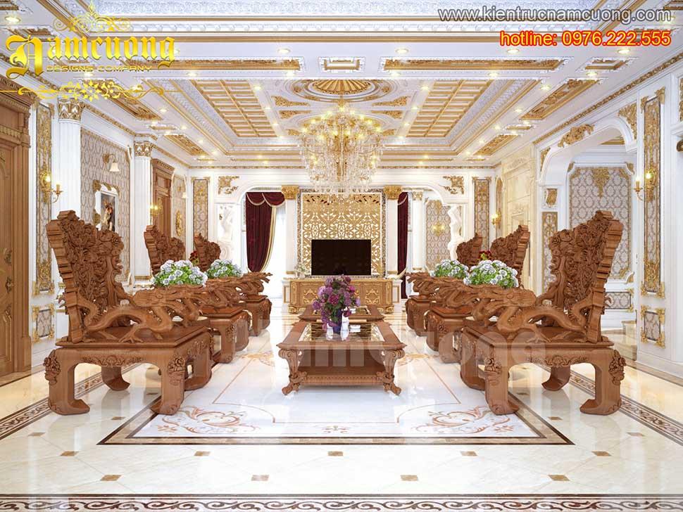 Thiết kế nội thất phòng khách tân cổ điển ấn tượng tại Quảng Ninh - NTKTCD 020