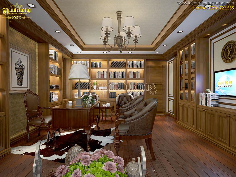 Mẫu thiết kế phòng làm việc tân cổ điển màu gỗ sang trọng tại Hà Nội - VPCDG 001