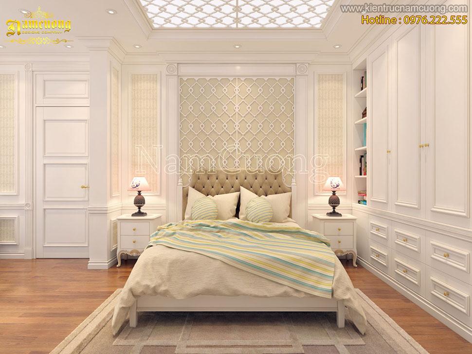 Dịu dàng với mẫu thiết kế phòng ngủ tân cổ điển màu kem tại Hà Nội - PNCDK 002