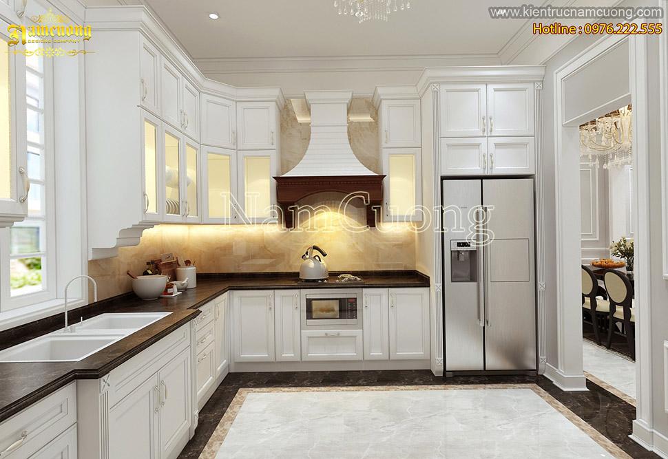 Mẫu thiết kế nội thất phòng bếp màu trắng tân cổ điển đẹp tại Sài Gòn - NTPBTR 003