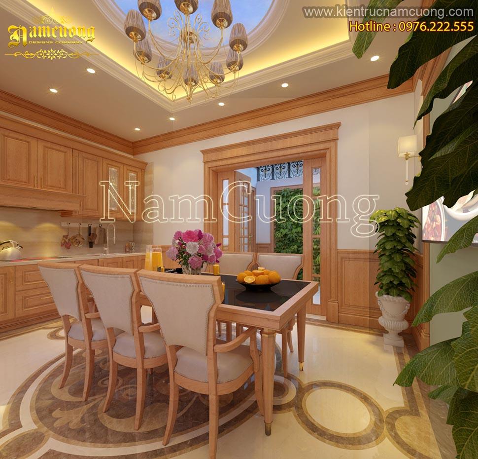 Nội thất phòng bếp sang trọng cho mẫu biệt thự tân cổ điển đẹp