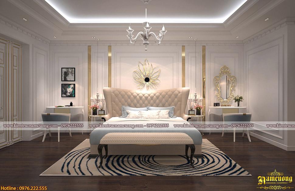 10 thiết kế nội thất phòng ngủ biệt thự tân cổ điển đẹp - NTPNCD 078